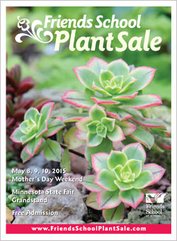 2015 Friends School Plant Sale catalog cover with green and pink Kiwi aeonium
