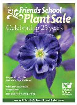2014 Friends School Plant Sale catalog cover with blue-violet Columbine close up
