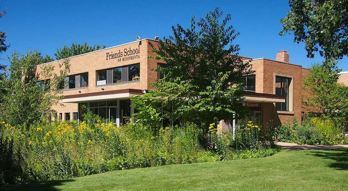 Friends School of Minnesota building with native plantings in front