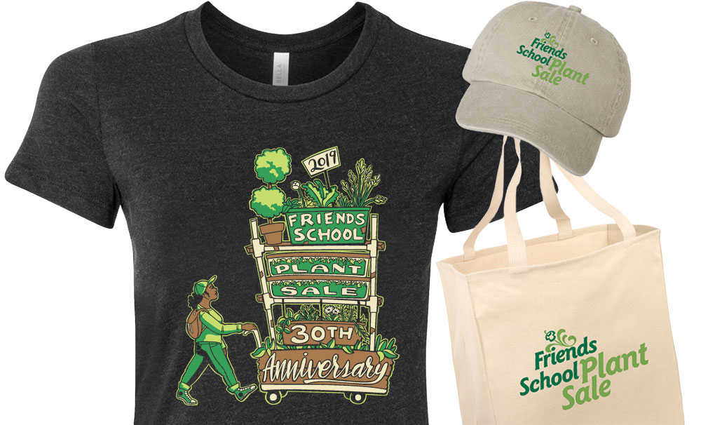 Anniversary shirt plus tote bag and hat with plant sale logo