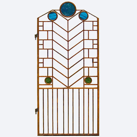 Craftsman style metal gate with round glass ornaments
