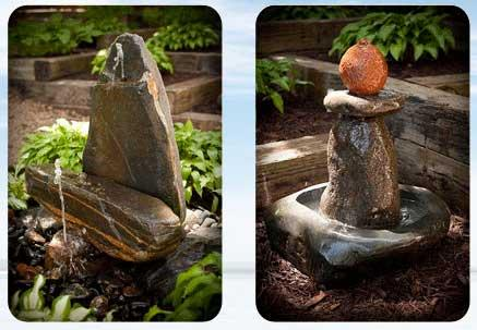 Two stone fountains by Tonka Bay Fountains
