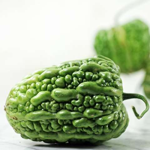 Big Top bitter melon, pepper-shaped bumpy green fruit