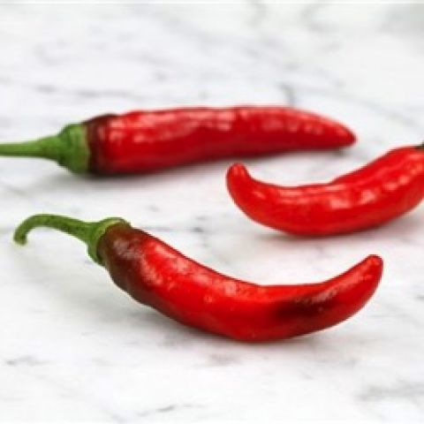 Rooster Spur peppers, small narrow red peppers